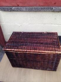 Shabby chic large wicker basket