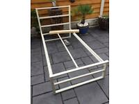 Single Bed Frame - Cream Painted Steel - Brand New