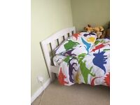 Mothercare White Wooden Toddler Bed and mattress