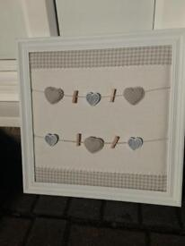 Shabby chic style noticeboard - new - hearts & peg detail - wedding / home decor