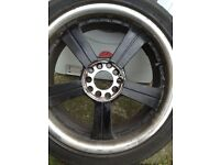 """17"""" 10 stud hole universal alloy & chrome wheels with tyres"""