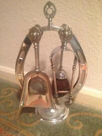 Vintage Chrome fire companion set