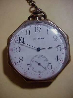 (WALTHAM 15 Jewels ANTIQUE Octagon DRESS Gold Vest POCKET WATCH with Chain)