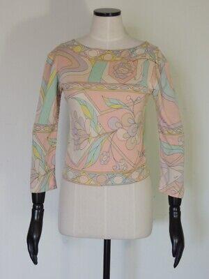 Vintage EMILIO PUCCI Silk Jersey Long Sleeve Shirt Top Blouse Size 8