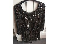 Black& gold sequinned playsuit size 14