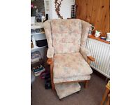 Winged arm chair and stool