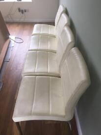 Dining Chairs Cream Faux Leather x 4
