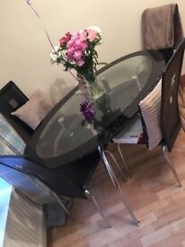 Black Glass and Chrome 4 Seater Dining Table