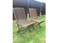 Pair hardwood garden chairs