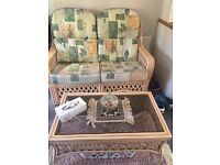 BEAUTIFUL FULL SET CONSERVATORY FURNITURE, 2 & 1 SET OF 5 SITTER CHAIRS,2 SMALL CHAIRS,TABLE,SHELF..