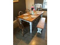 Pine farmhouse table bench and 4 chairs