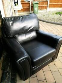 Black leather 2-piece suite