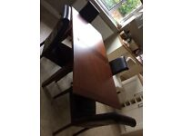Brown leather dining table and 4 chairs