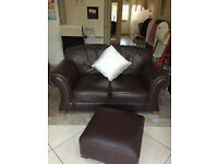 Brown leather 2 seater settee with matching footstool