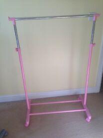 Pink clothing rail