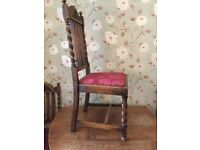 Antique Edwardian barley twist gate table, and 4 chairs