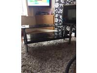 Black glass tv table