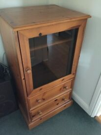 Hifi cabinet in honey pine - cupboard and 2 drawers