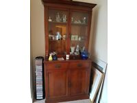 Lovely tall, dark wood chiffonier with glass doors