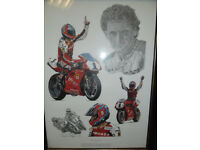 Tribute to Carl Fogarty print in frame by Stuart Mcintyre