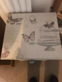 Shabby chic bedside table 3 drawers grey
