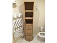 Rotating drawers, mirror, hooks & towel rail with 4 sides. Ideal for bedroom or bathroom!