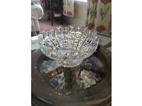 Vintage heavy cut glass fruit or trifle dish