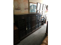 Outstanding Very Large Lockable Antique Solid Oak Four Glazed Doors Bookcase with Adjustable Shelves