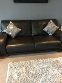 Brown leather 3 seated sofa, armchair & footstool