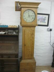 c1720-1790 SOLID PINE GRANDFATHER - LONGCASE CLOCK. 'W PIKE BARNSTAPLE'. VIEWING/DELIVERY POSSIBLE