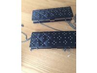 Black silk and diamante evening clutch bag