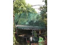 Large oven TP trampoline with padded cover, cover safety net and ladder