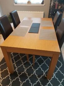 Dining Set - Oak Table and 4 high backed dining chairs - Quick Sale