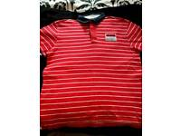 SIZE LARGE RED/WHITE STRIPE POLO TOP