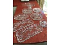 Vintage glass party dishes and 2 cake stands