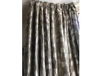 Gorgeous olive green/ pale gold leaf print heavy lined pinch pleat curtains