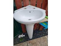White Corner Sink and Pedestal