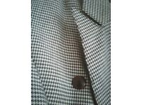 Dog-tooth Suit: Double breasted Jacket/ Skirt Size 10 £8