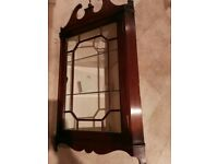 Antique style wall hanging display cabinet