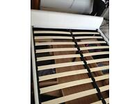 Off white double leather bed base four draws