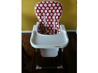 O'baby red polka dot nanofold highchair