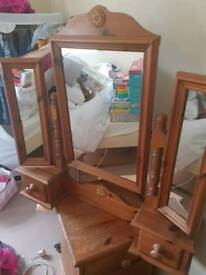 pine mirror and bedside table
