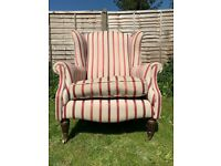 Elegant Laura Ashley Southwold Luxford Stripe Cranberry Fabric Armchair - Great Condition