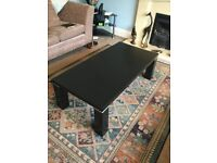 Large Solid Black Coffee Table with metal detail legs H15in/38cmL47.5in/130cmW23.5in/60cm