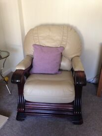 Free beige leather arm chair
