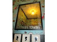 Mirror, black frame with floral frosting detail, new for hall bath bedroom, bedside table cabinet