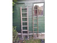 Three section wooden ladder