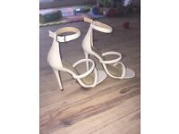 Misguided beige strappy high heel shoes