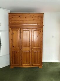 Wardrobe pine 3 doors and extra storage on top