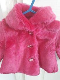 Pink faux fur jacket age 6-9 months